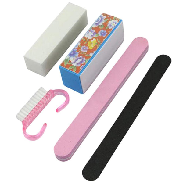 5Pcs Rectangular Nail Files & Buffer Nail Art Tools Set For Manicure