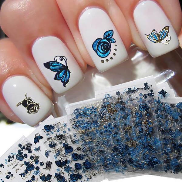 24Pcs 3D Leaf Butterfly Bronzing Pattern Nail Art Stickers