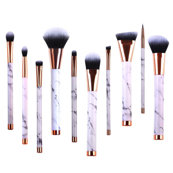 10pcs Marble Handle Foundation Eyeshadow Lip Makeup Brushes Kit