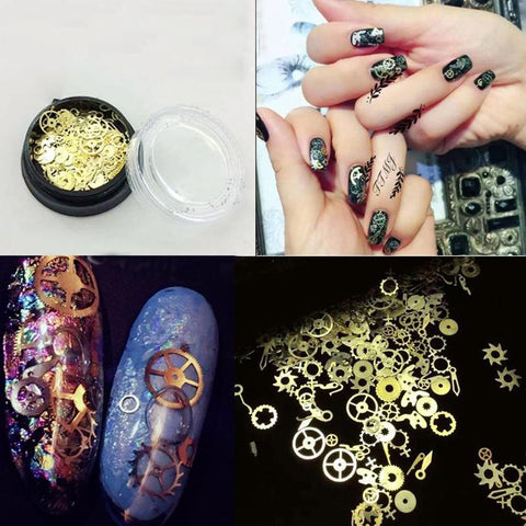 3D Steam Punk Gear Wheel Nail Art Stickers Alloy Tips Decoration