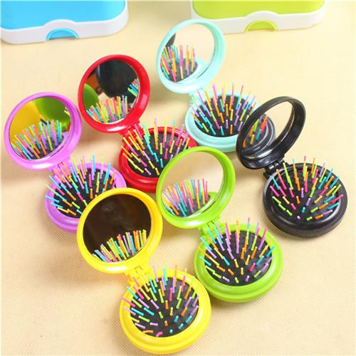 Portable Mini Round Folding Comb With Mirror Hair Brushes Makeup Tool