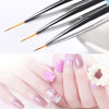 3Pcs Acrylic Liner Drawing Painting Carving Pen Nail Art Brush Nail Tools