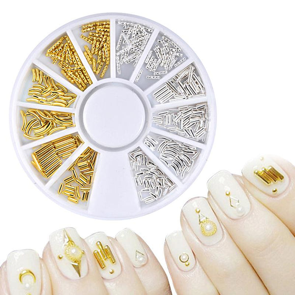 1Box Gold Silver Metal Hollow Starfish Triangle Pattern Nail Decoration In Wheel