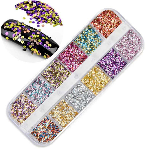12Colors/Box Gorgeous Dot Nail Glitters Round Nail Sequins Nail Art Decoration