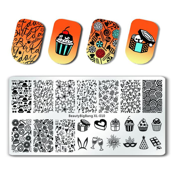 Party Theme Rectangle Nail Stamping Plate Candy Cake Gift Box Patterns Nail Art Tool BBBXL-010