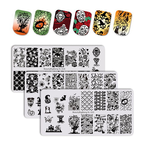 FREE 3Pcs Multiple Themes Christmas & Halloween Nail Stamping Plates Set For Manicure