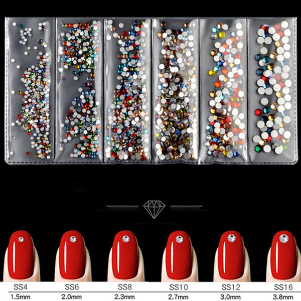 3D Mixed Colorful Rhinestones Glass Nail Gems Accessories Nail Decoration