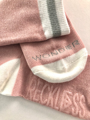 Pink Cabin Sock | Grey Stripe | little kid