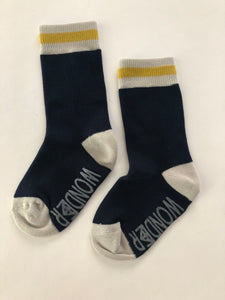 Navy Cabin Sock | Mustard Stripe | infant/toddler
