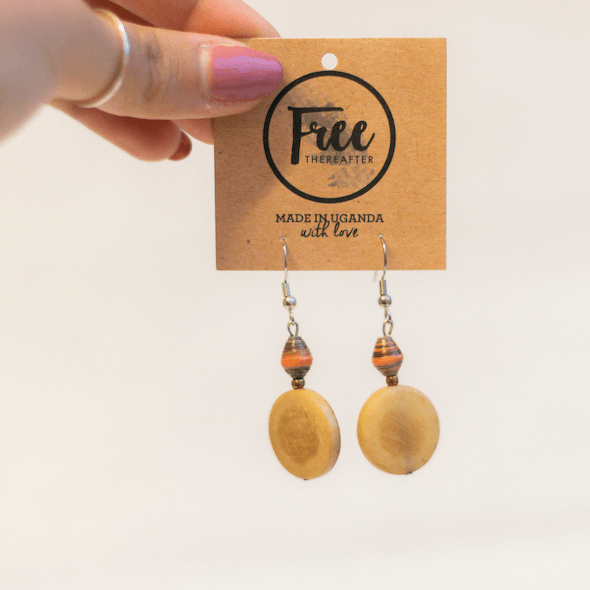 Earrings - Striped dark orange & disk piece