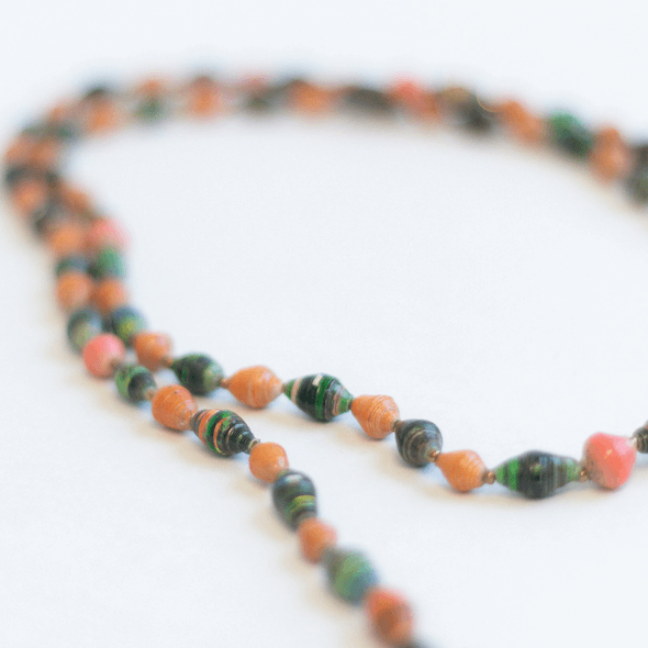 Long Necklace - Brown, green dark orange beads