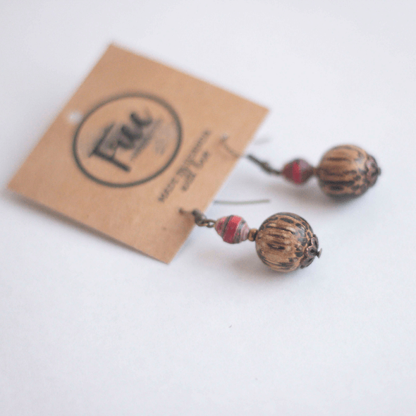 Earrings - Dark red beads