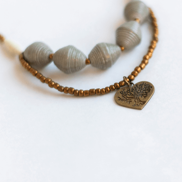 Necklace - Gray beads with Heart tag