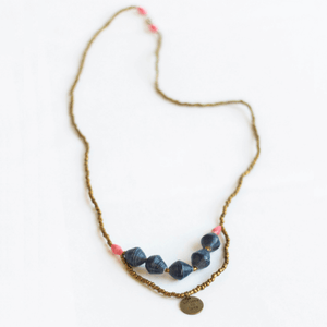 "Necklace - Blue beads & ""Believe In Love"" tag"