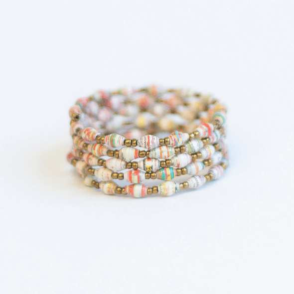 Coil Bracelet - White with red
