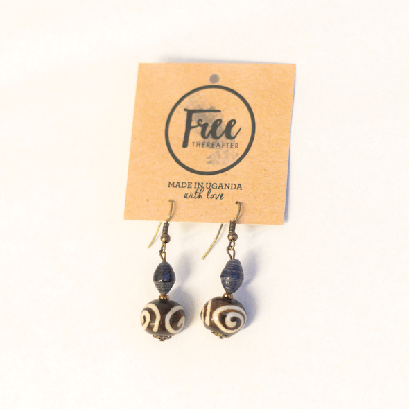 Earrings - Dark blue beads with rounded piece