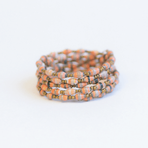 Coil Bracelet - Salmon with gray/blue