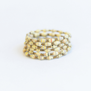 Coil Bracelet - White with a touch of mauve