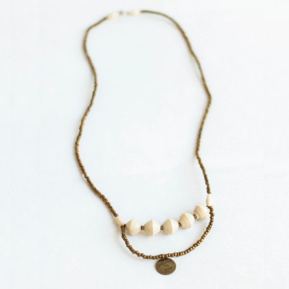 "Necklace - White beads & ""Believe In Love"" tag"