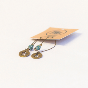 Earrings - Green striped beads & star tag