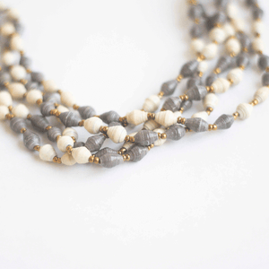 Necklace - White & Gray Beads