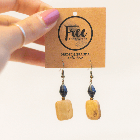 Earrings - Dark blue beads with rectangle piece