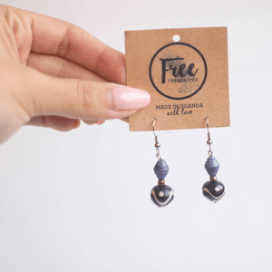 Earrings - Blue & mauve beads