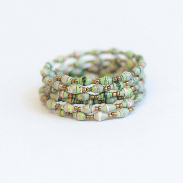 Coil Bracelet - Green with mixed colors