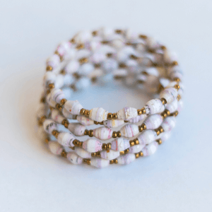 Coil Bracelet - White with small pink stripes