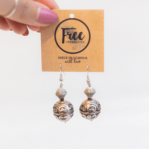 Earrings - Gray beads & rounded piece