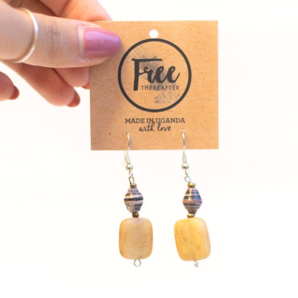 Earrings - Striped beads with rectangle piece