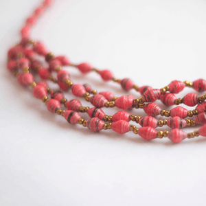 Necklace - Pink with thin black lines