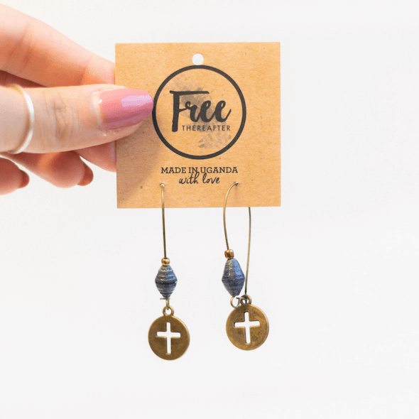 Earrings - Blue beads & cross tag