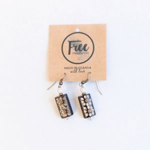 Earrings - White beads & wood