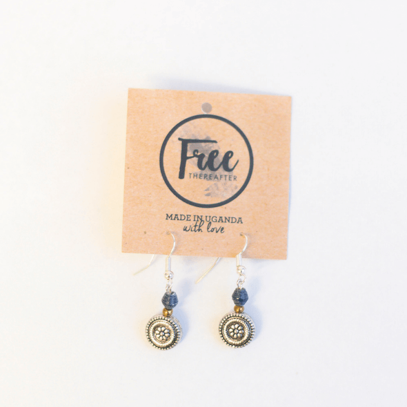 Earrings - Small blue beads & light metal disk