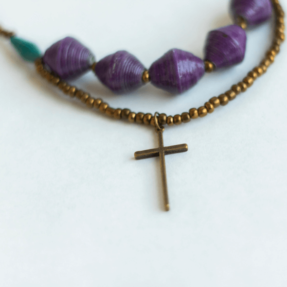 Necklace - Purple beads & Cross tag