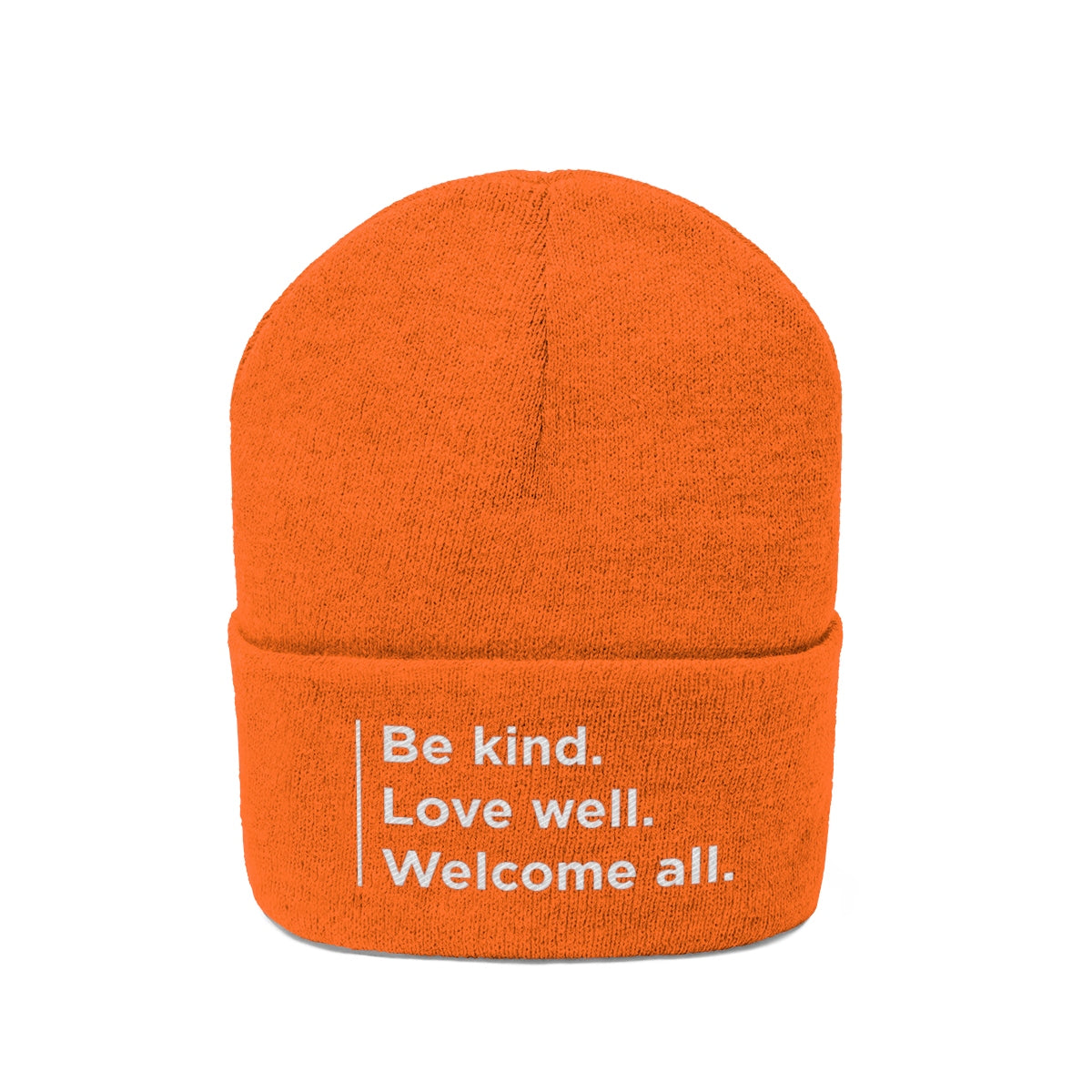 """Welcome all"" Unisex Knit Beanie"