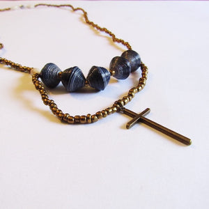 Necklace - Blue beads & Cross tag