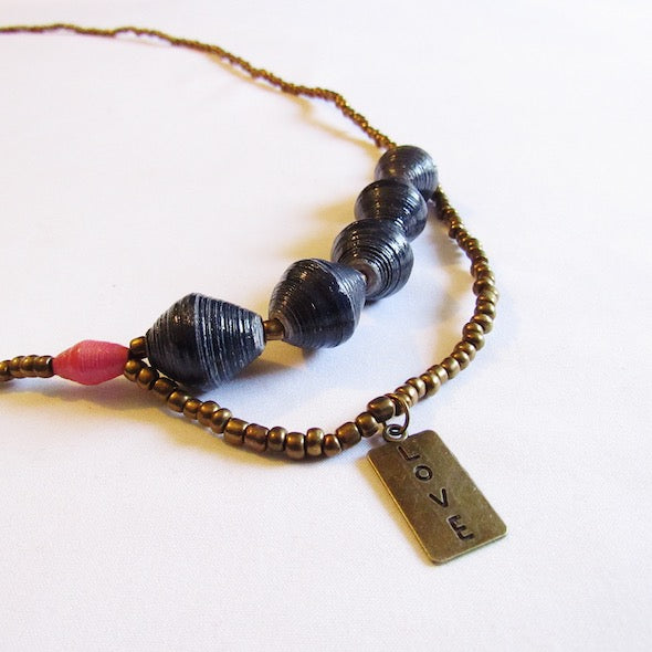 Necklace - Blue beads & Love tag