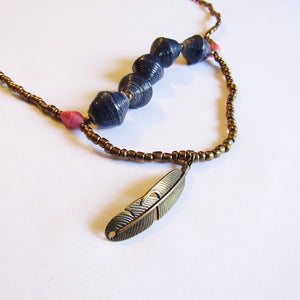 Necklace - Blue beads & Feather tag