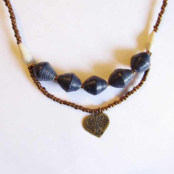 Necklace - Blue beds & Heart tag