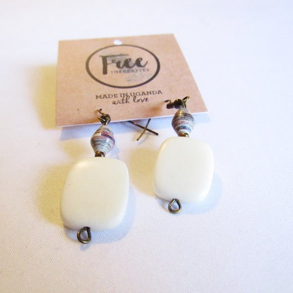 Earrings - Blueish beads & Rectangular white tag