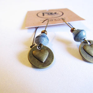 Earrings - Blue beads & Heart tag