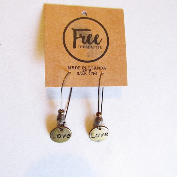 Earrings - Gray beads & Love tag