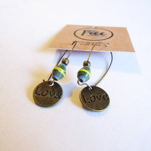 Earrings - Green/Yellow beads & Love tag