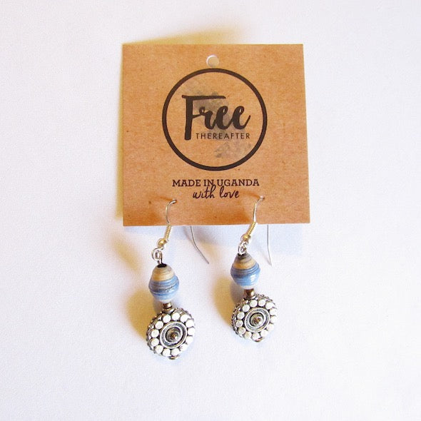 Earrings - Blue/beige & Flower tag