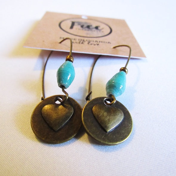 Earrings - Teal beads & Heart/Love tag