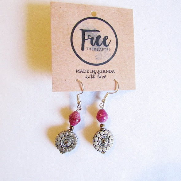 Earrings - Purple beads & Flower tag