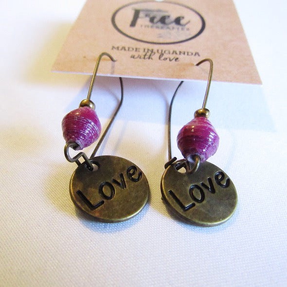 Earrings - Purple beads & Love/Heart tag