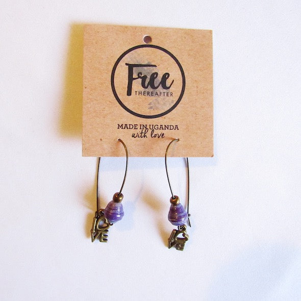 Earrings - Purple/Blue beads & 'LOVE' letters